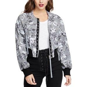 NWT Rachel Roy Baldwin Floral Check Bomber Jacket